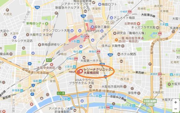 レジーナクリニック大阪梅田院の地図